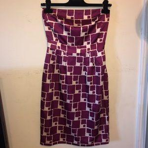BANANA REPUBLIC PURPLE GEOMETRIC STRAPLESS DRESS